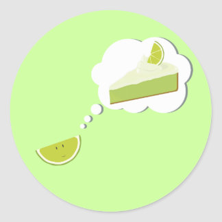 Lime slice thinking of pie classic round sticker