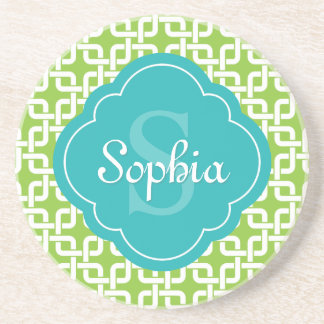 Lime Square Chain Pattern Teal Monogram Beverage Coasters