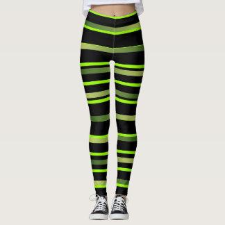 Lime Striped Sporty Leggings Workout Sports Pants