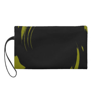 Lime Swirl Paint Art Design Abstract Wristlet Purse