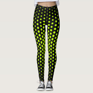 Lime Techno Dot Pattern Leggings