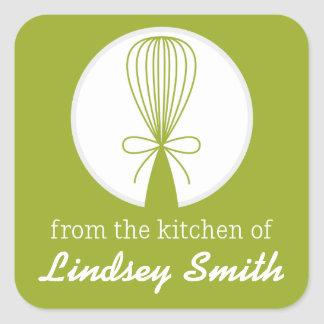 Lime Whisk Silhouette Kitchen Labels Square Sticker