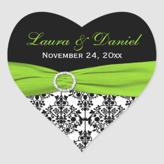 Lime, White, and Black Damask Heart Shape Sticker