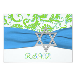 Lime, White, Blue PRINTED RIBBON RSVP Card