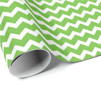 Lime White Chevron Pattern Wrapping Paper