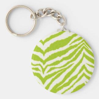 Lime & White Zebra Keychain
