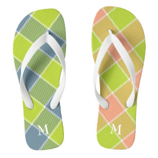 lime with pink and blue checked plaid mismatched flip flops