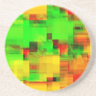 Lime Yellow Geometric Design Coaster