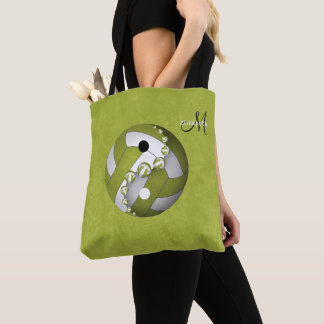 lime yin and yang volleyball monogrammed women's tote bag