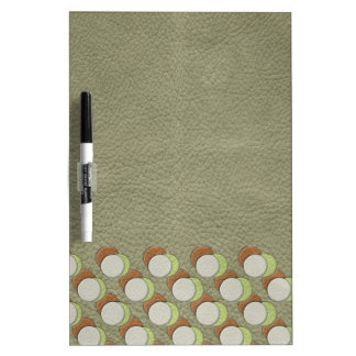LimeGreen Polka Dots on Khaki Leather Print Dry Erase Whiteboards
