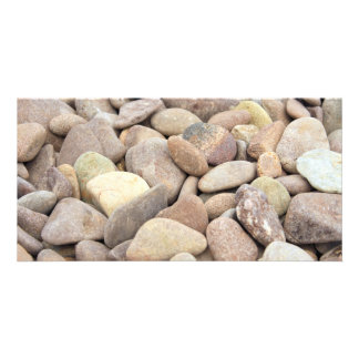 limestone pebbles customized photo card