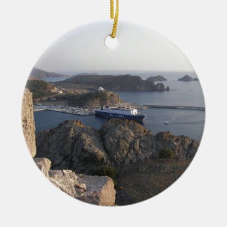Limnos Ferry From The Hill Round Ceramic Ornament