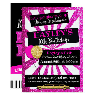 Limousine birthday party invitations announcements zazzle ca limo party vip pass pink gold glitter invitation stopboris Image collections