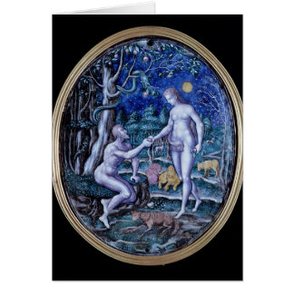 Limoges plaque depicting Adam and Eve, c.1570 Card