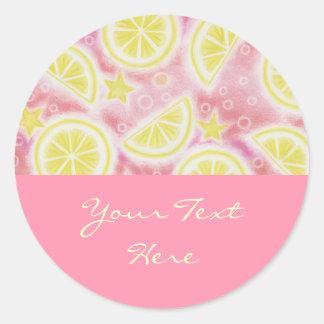 """Limonade rose rose rond d'autocollant des """"vos sticker rond"""