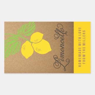 Limoncello Label, small rectangle lemon sticker