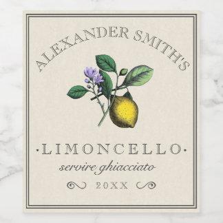 Limoncello Vintage Lemon Illustration Label  