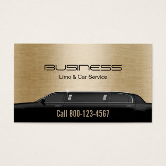 Limousine Limo & Car Service Modern Gold Business Card