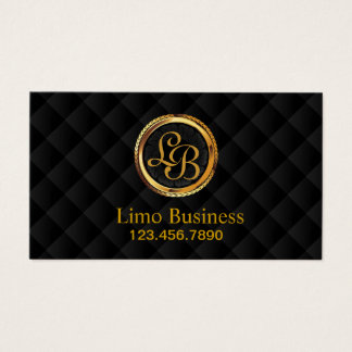Limousine Limo Driver Monogram Gold Initials Business Card
