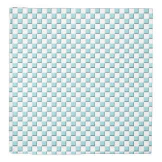 Limpet Shell Aqua Blue Beveled Checkerboard Duvet Cover