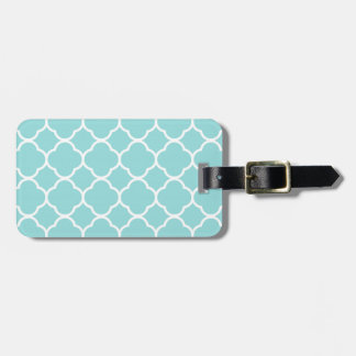 Limpet Shell Blue  Quatrefoil Luggage Tag