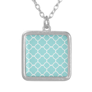 Limpet Shell Blue  Quatrefoil Silver Plated Necklace