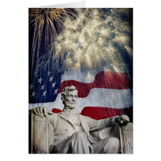 Lincoln and Fireworks Card