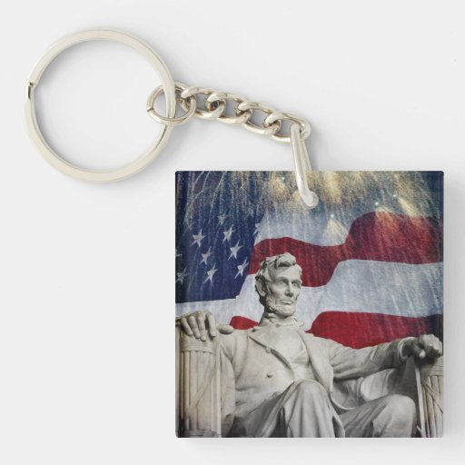 Lincoln and Fireworks Square Acrylic Key Chains