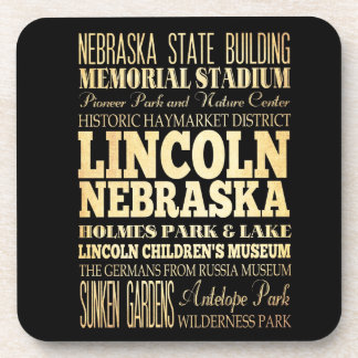 Lincoln City of Nebraska Typography Art Coaster