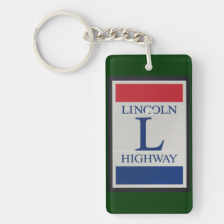 Lincoln Highway Road Sign Double-Sided Rectangular Acrylic Keychain