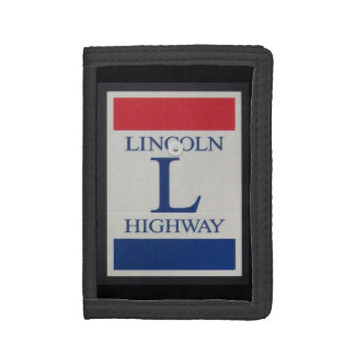 Lincoln Highway Road Sign Tri-fold Wallet