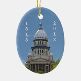 Lincoln Illinois Capitol Bicentennial Ceramic Ornament