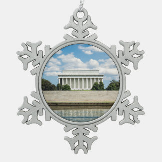 Lincoln Memorial Snowflake Pewter Christmas Ornament
