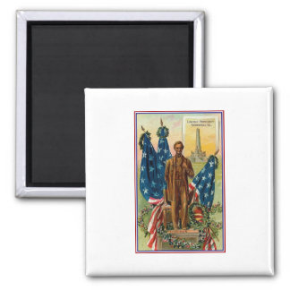 Lincoln Monument Springfield Ill Vintage Americana Square Magnet