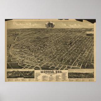 Lincoln Nebraska 1889 Antique Panoramic Map Poster