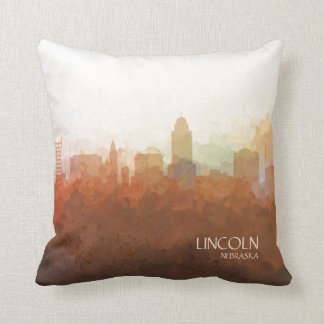 Lincoln, Nebraska Skyline-In the Clouds Throw Pillow