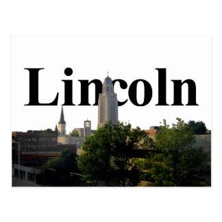 Lincoln, Nebraska Skyline with Lincoln in the Sky Postcard