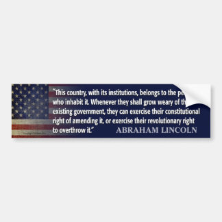 Lincoln Quote: Revolutionart Right Bumper Sticker