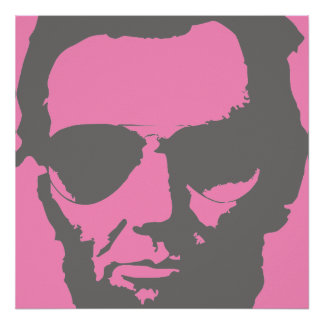 Lincoln with Aviator Sunglasses - Gray Poster