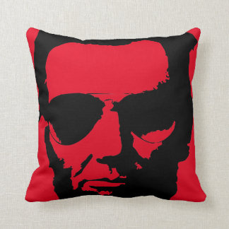 Lincoln with Aviator Sunglasses Hipster (Black) Throw Pillow