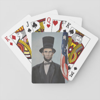 Lincoln with Flag Portrait Art Playing Cards