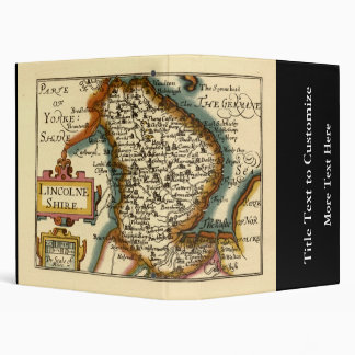 Lincolneshire County Map, England 3 Ring Binder