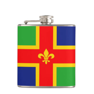 Lincolnshire flag united kingdom great britain hip flask