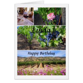 Linda Happy Birthday California Vineyards Card