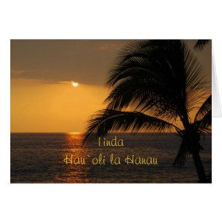 Linda Hawaiian Happy Birthday Tropical Sunset Card