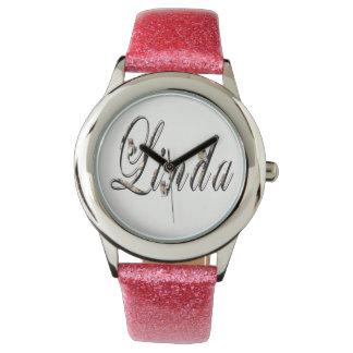 Linda, Name, Logo, Girls Pink Glitter Watch. Wrist Watches