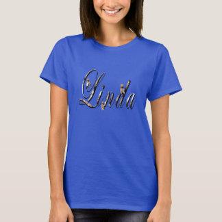 Linda, Name, Logo, Ladies Blue T-shirt. T-Shirt