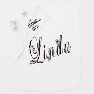 Linda, Name, Logo, White Snugly Baby Blanket. Baby Blanket