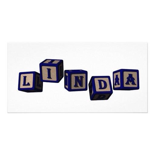 Linda toy blocks in blue photo card
