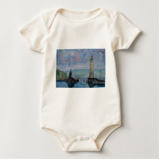 Lindau with Lion and Lighttower on Lake Constance Baby Bodysuit